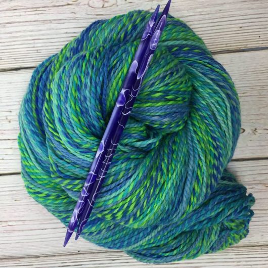blue green marled merino yarn